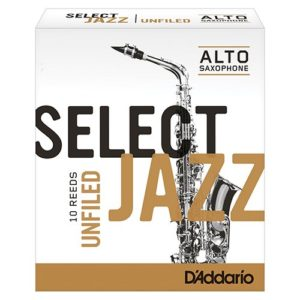 CAJA DE CAÑAS D'ADDARIO SELECT JAZZ UNFILED PARA SAXOFÓN ALTO
