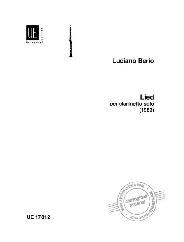 Lied(1983) para clarinete solo.Luciano Berio