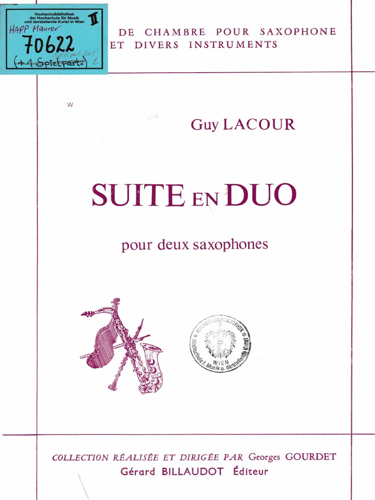SuiteenDuo(1971)para dos saxofones o 2 clarinetes.Guy Lacour