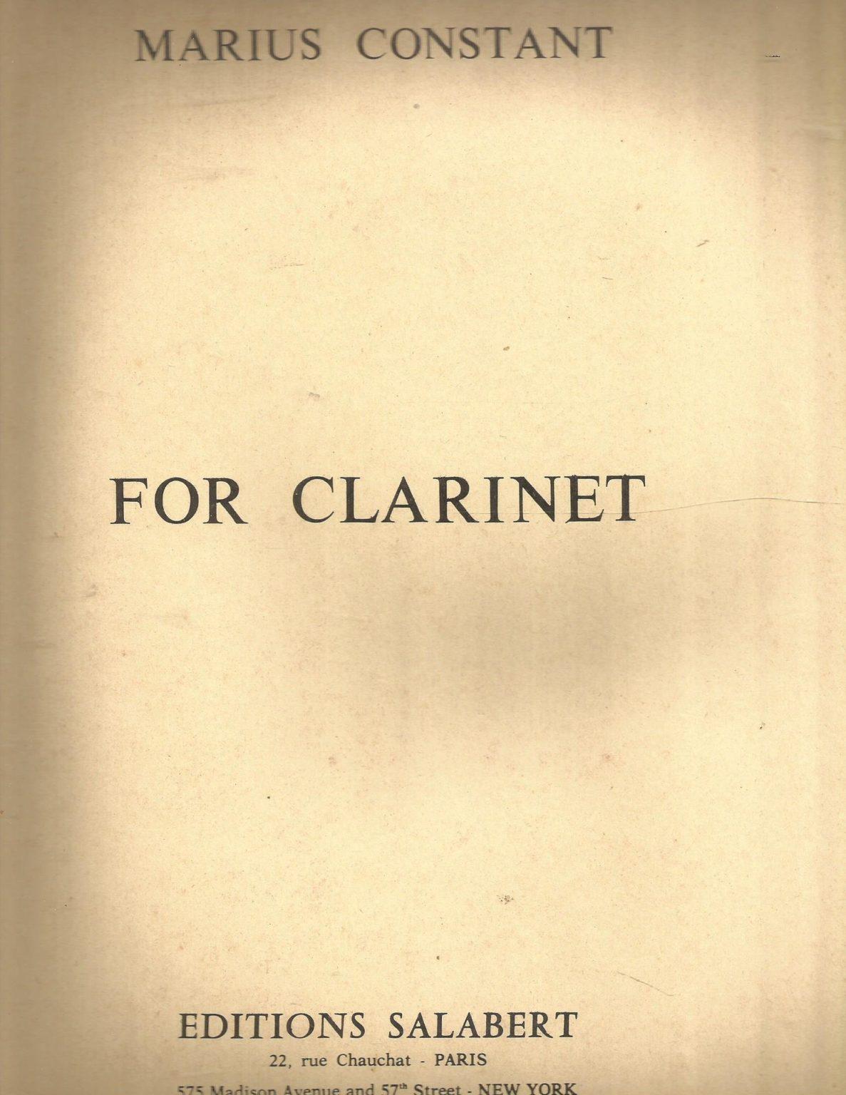 ForClarinet. Marius Constant