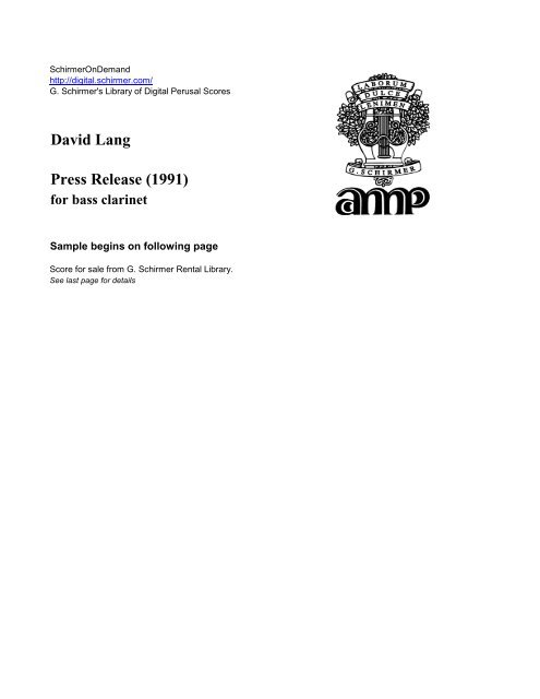 PressRelease(1991)para clarinete bajo solo.David Lang