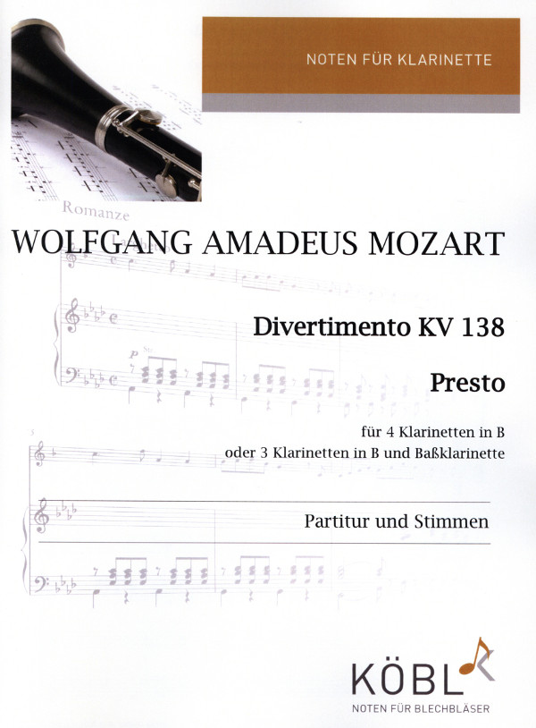 DivertimentoKV138para 4 clarinetes. WolfgangAmadeusMozart