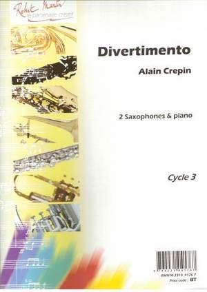 Divertimento(2005)para 2 saxofones altos solistas y piano. Alain Crepin