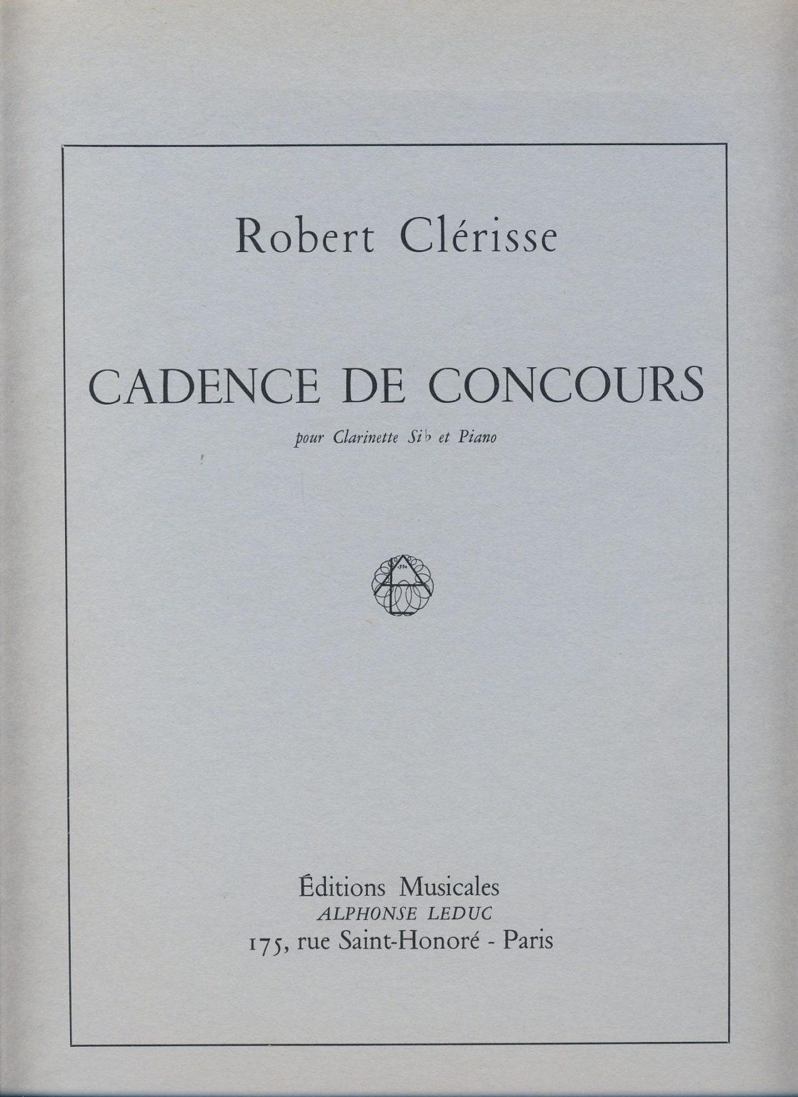 CadencedeConcours(1969)para clarinete y piano.Robert Clerisse