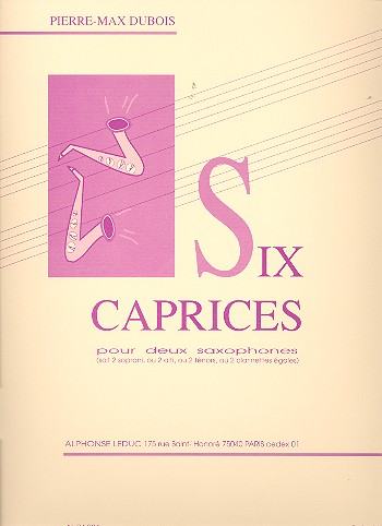 Six Caprices (1967) para dos saxofones iguales o dos clarinetes. Pierre Max Dubois