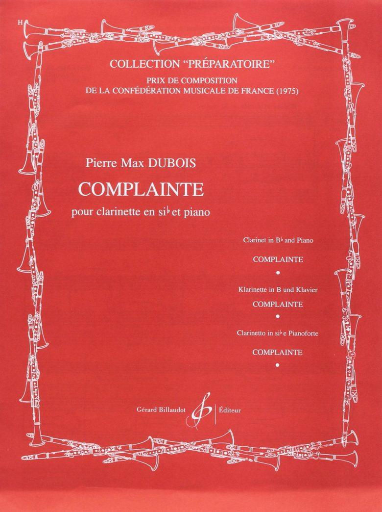 Complaintepara clarinete y piano. PierreMax Dubois