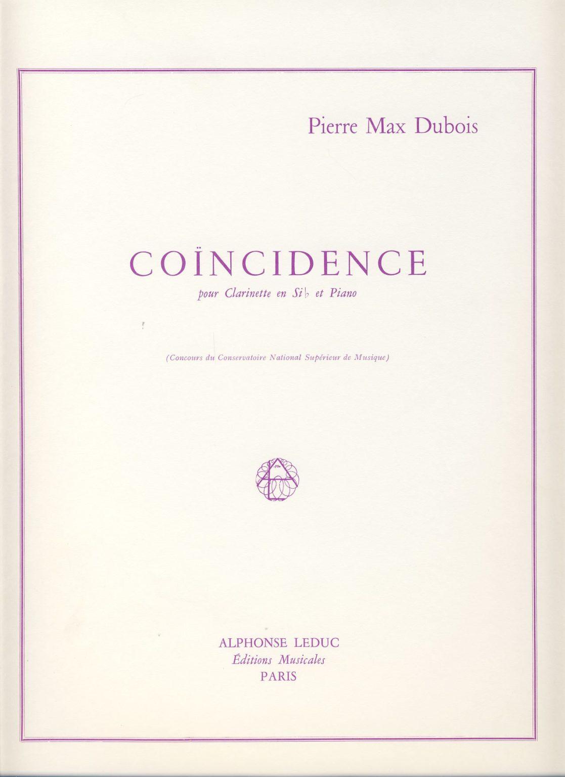Coincidence(1977)para clarinete y piano. PierreMax Dubois