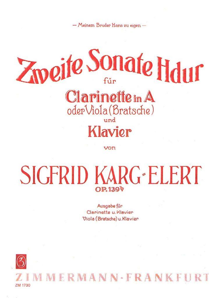 ZweiteSonateinH-Durop.139bpara clarinete en La y piano.Siegfried Karg-Elert