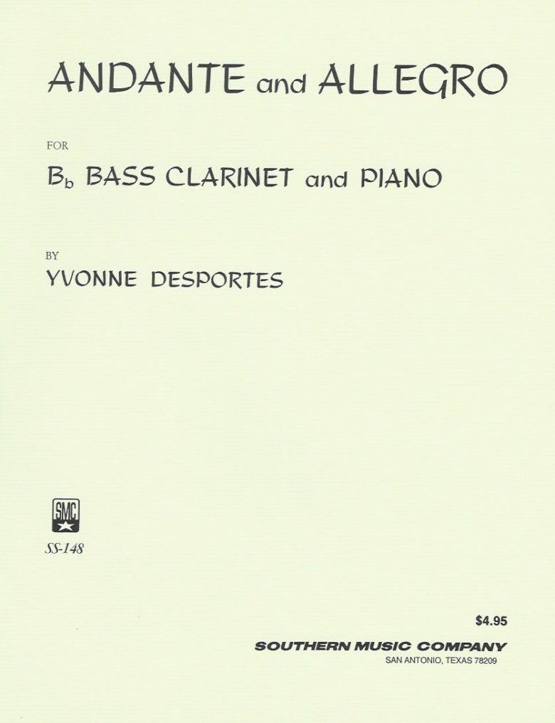 AndanteundAllegropara clarinete bajo y piano.Yvonne Desportes