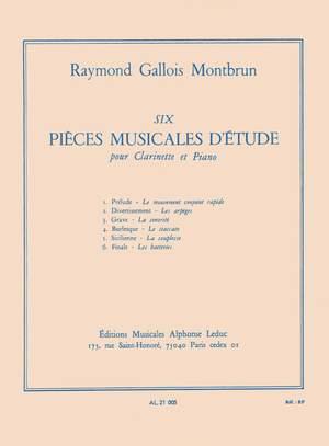 6Piecesmusicalesd'Etudes(1954) para saxofón alto y piano. Raymond Gallois-Montbrun