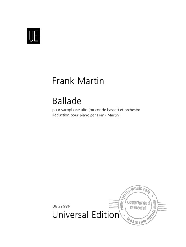 Ballade(1938)para saxofón alto y piano. Frank Martin