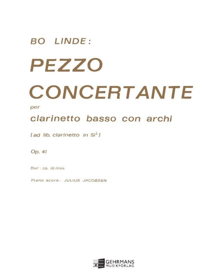 PezzoConcertanteop.41para clarinete bajo y cuerdas. Bo Linde