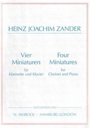 VierMiniaturen(1992)para clarinete y piano. HeinzJoachim Zander
