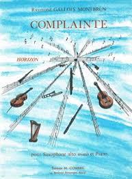 Complaintepara saxofón alto y piano. Raymond Gallois-Montbrun
