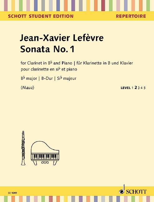 SonateNo.1aus'MethodedeClarinette'(1802)para clarinete y piano. JeanXavierLefevre