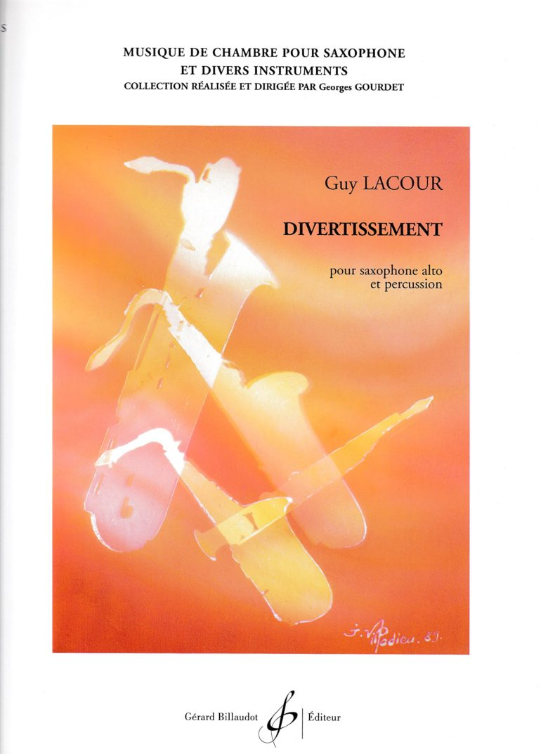 Divertissement(1968)para saxofón alto y percusión.Guy Lacour