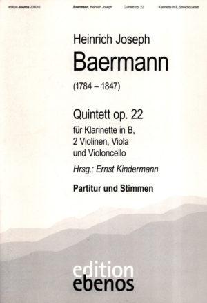 Quintettinf-mollop.22(ca1821)para clarinete y piano. HeinrichJoseph Baermann