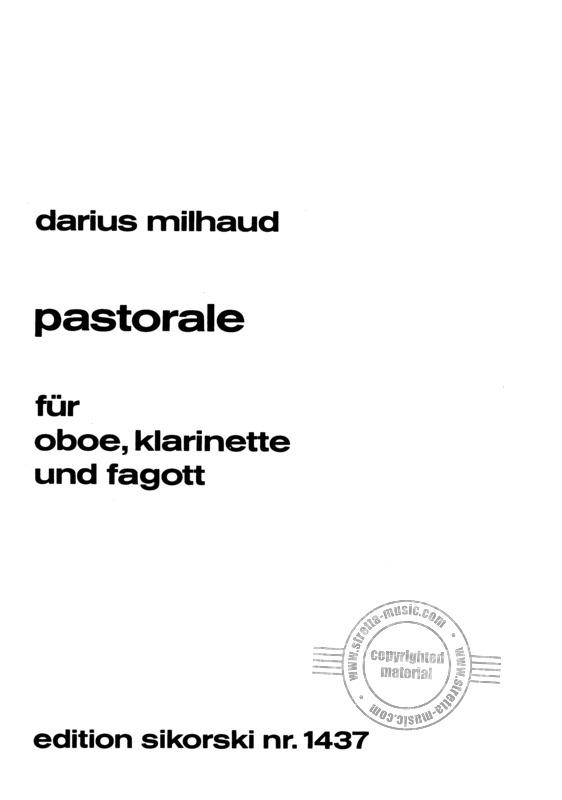 Pastoraleop.147(1936)para oboe, clarinete, fagot. Darius Milhaud