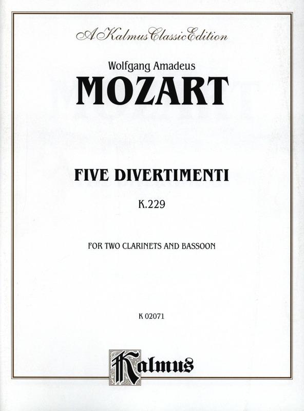 FünfDivertimentiKV229para clarinete. WolfgangAmadeusMozart