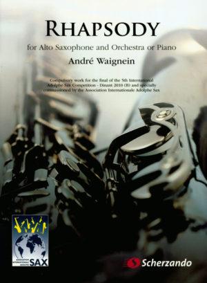Rhapsody(2010)para saxofón alto y orquesta de viento. Andre Waignein