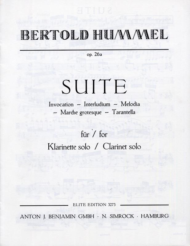 Suiteop.26a(1965)para clarinete solo. Bertold Hummel